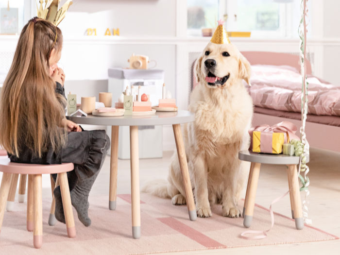 girl and dog tea party